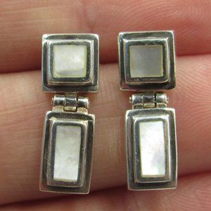 Sterling Silver Square Rustic White Shell Earrings